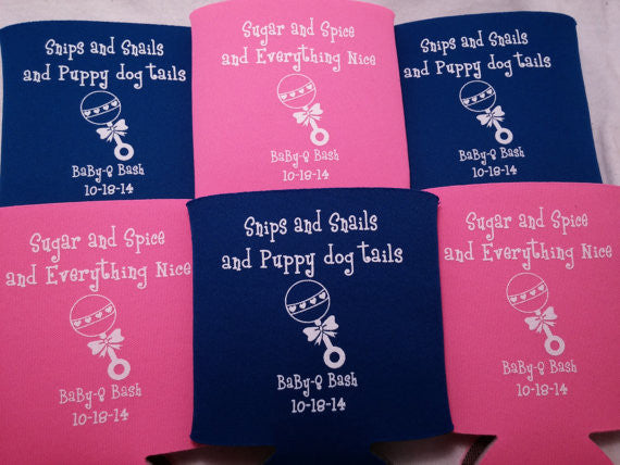Baby Q shower favors rattle custom Can Coolers