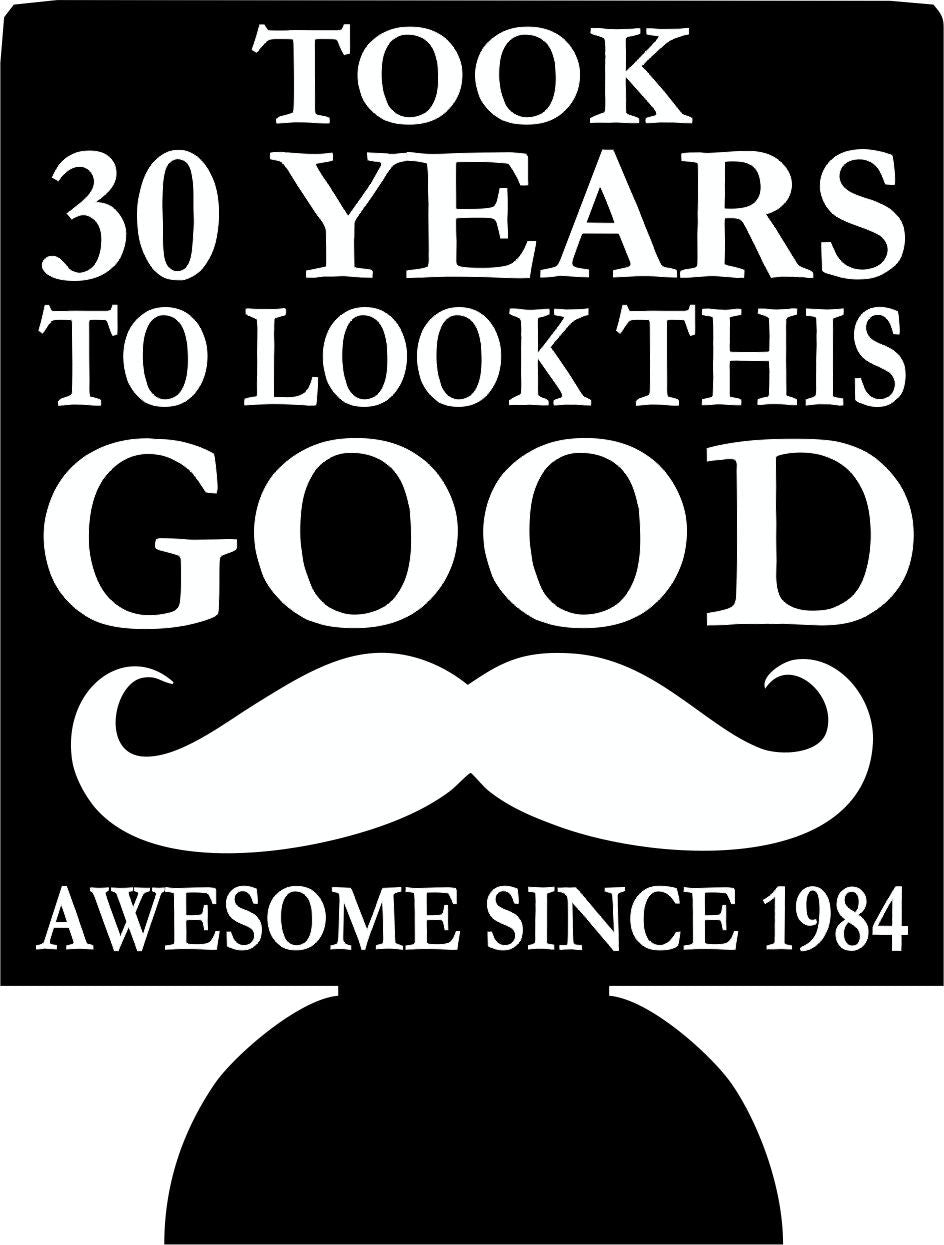 Mustache 30th Birthday koozies