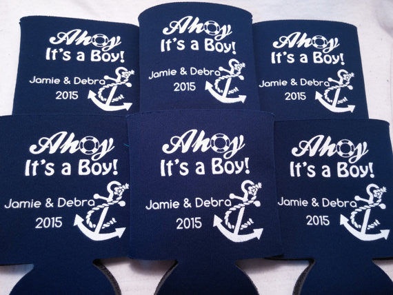 Nautical Baby Shower Koozie or can cooler favors
