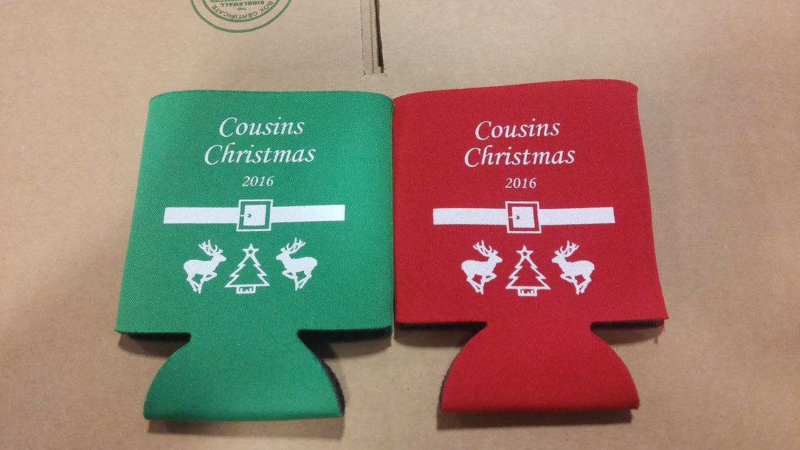 Personalized Christmas party Koozies favors can coolers 6982