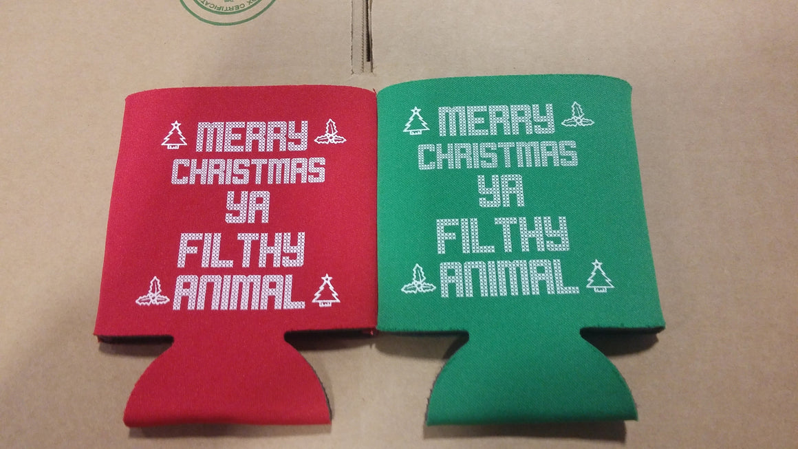 filthy animal Christmas koozie party favors can coolers E11142016