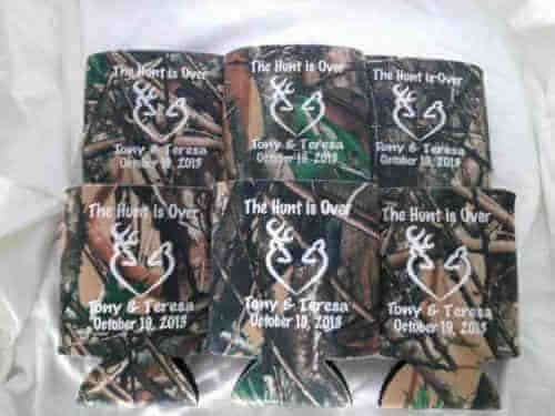 The hunt is over camo wedding koozie