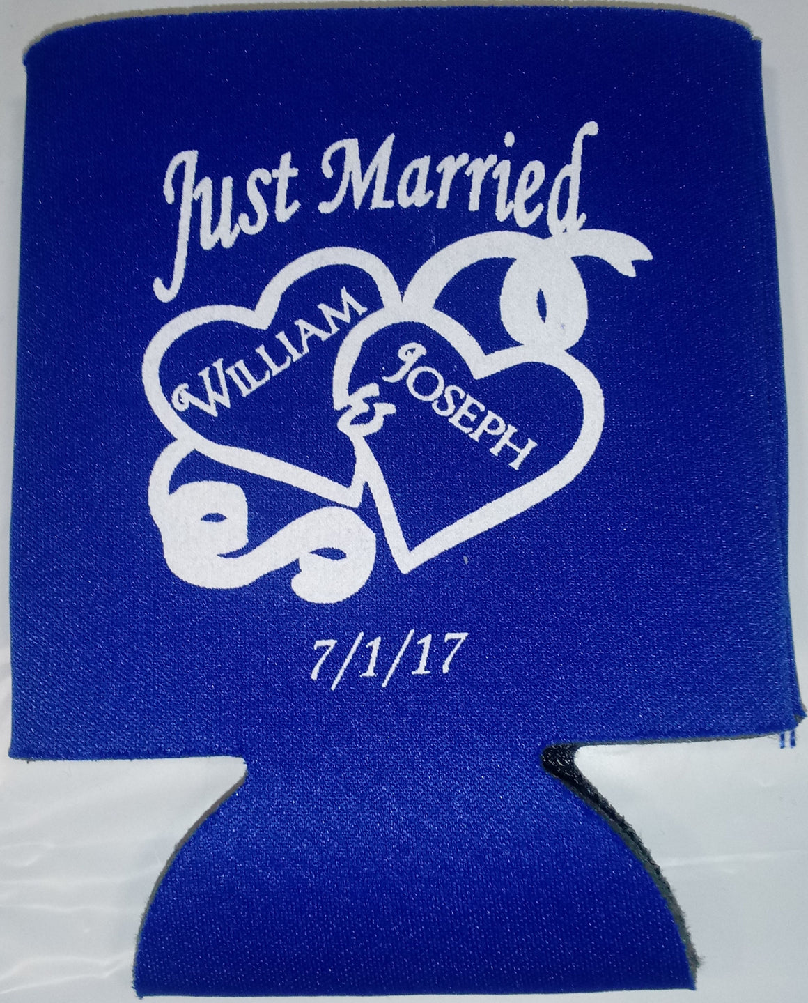 Just Married Wedding koozie party favors Can Coolers