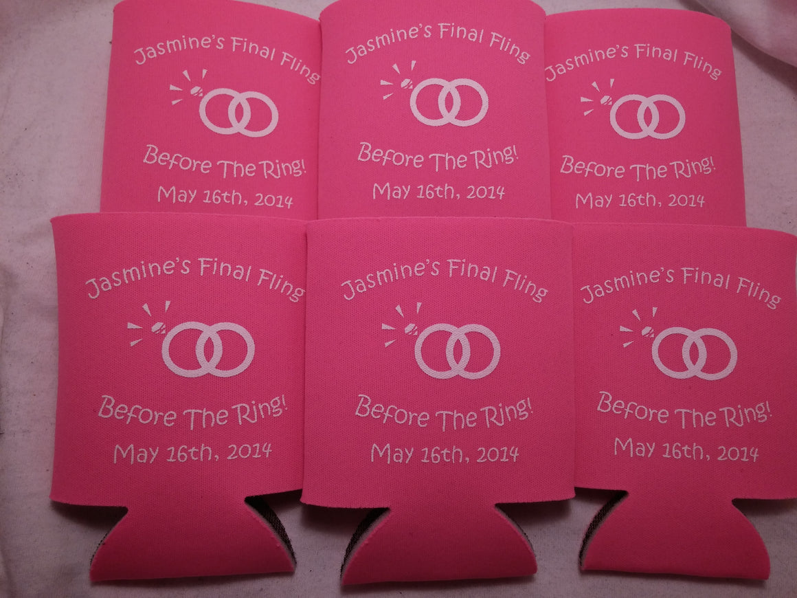 final fling before the ring bachelorette koozie quick shipping can coolers