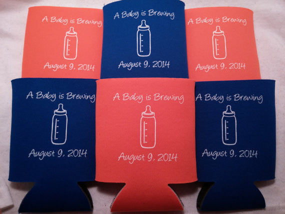 baby is brewing Baby Shower Can Coolers