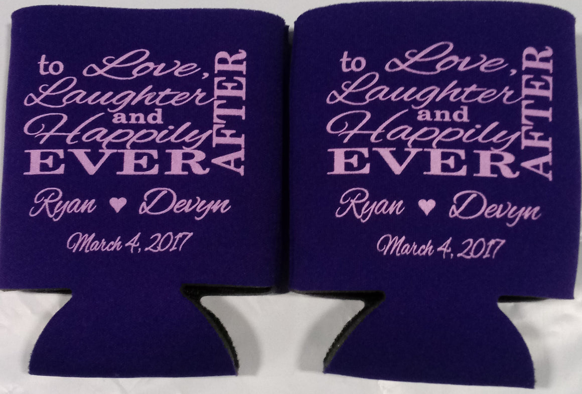 love and laughter Wedding koozies party favors Can Coolers