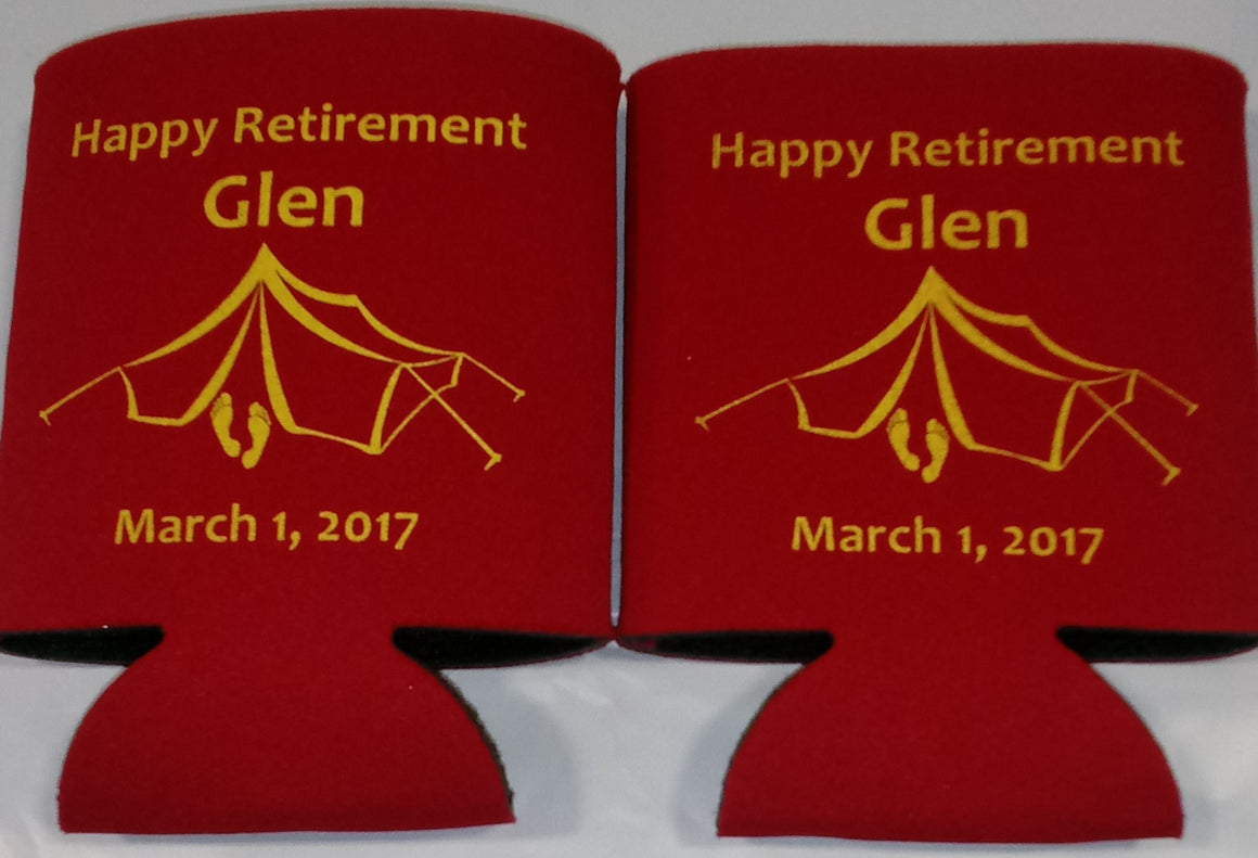 Camping Retirement Koozies Personalized custom Can Coolers