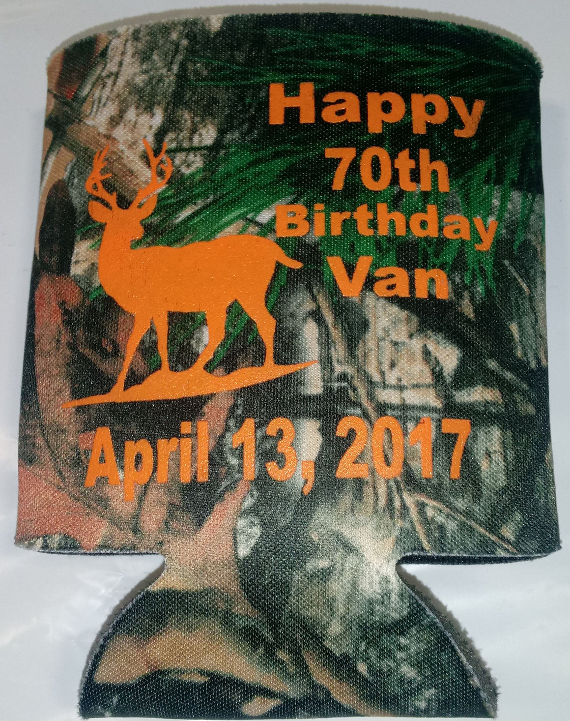 70th Birthday koozie party favors deer can coolers
