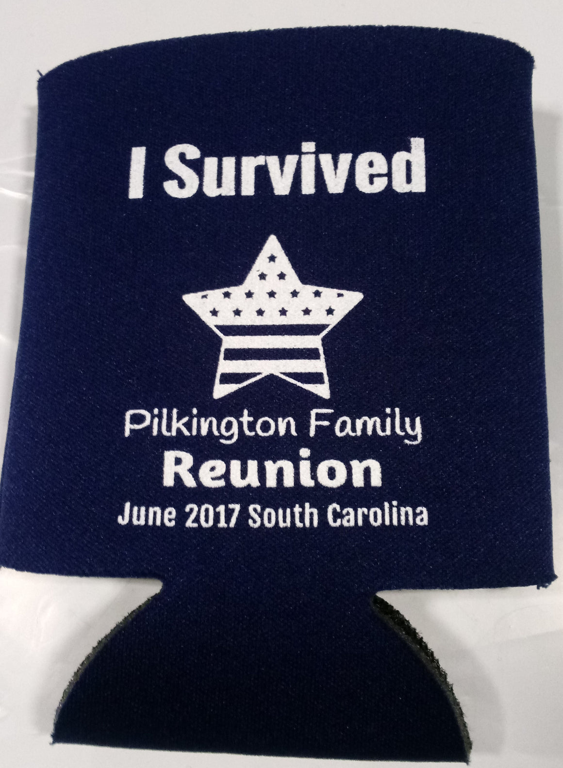 i survived Family reunion party favors can coolers