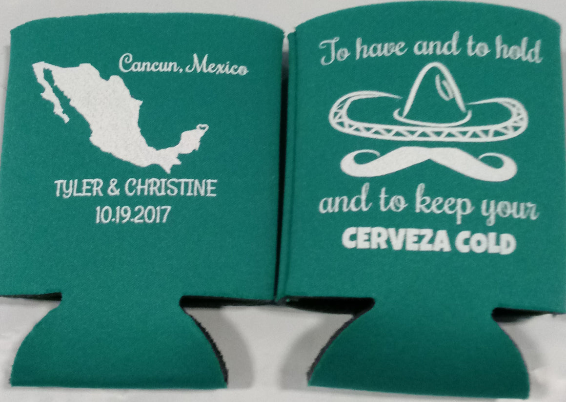 Wedding Koozies Mexico cerveza to have and to hold