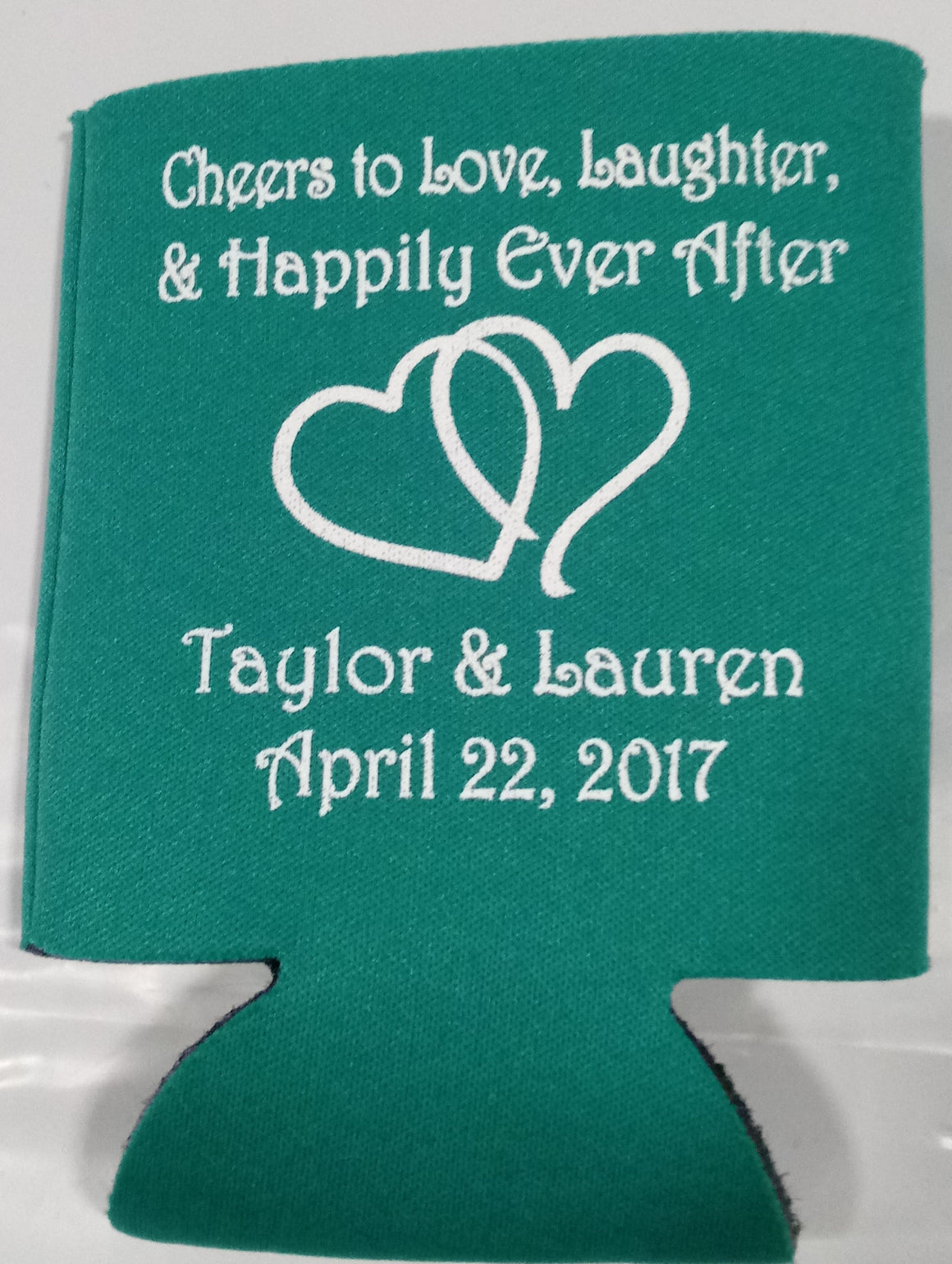 love and laughter Wedding koozies cheersparty favors Can Coolers