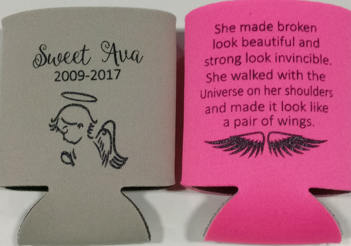 In memory of  koozie personalized Angel fundraiser can coolers