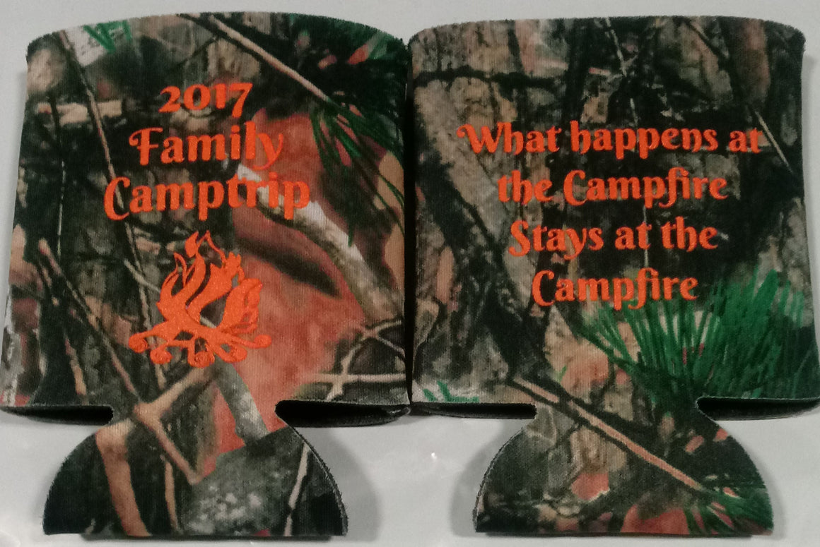 Family Camping trip koozie what happens at the campfire can coolers