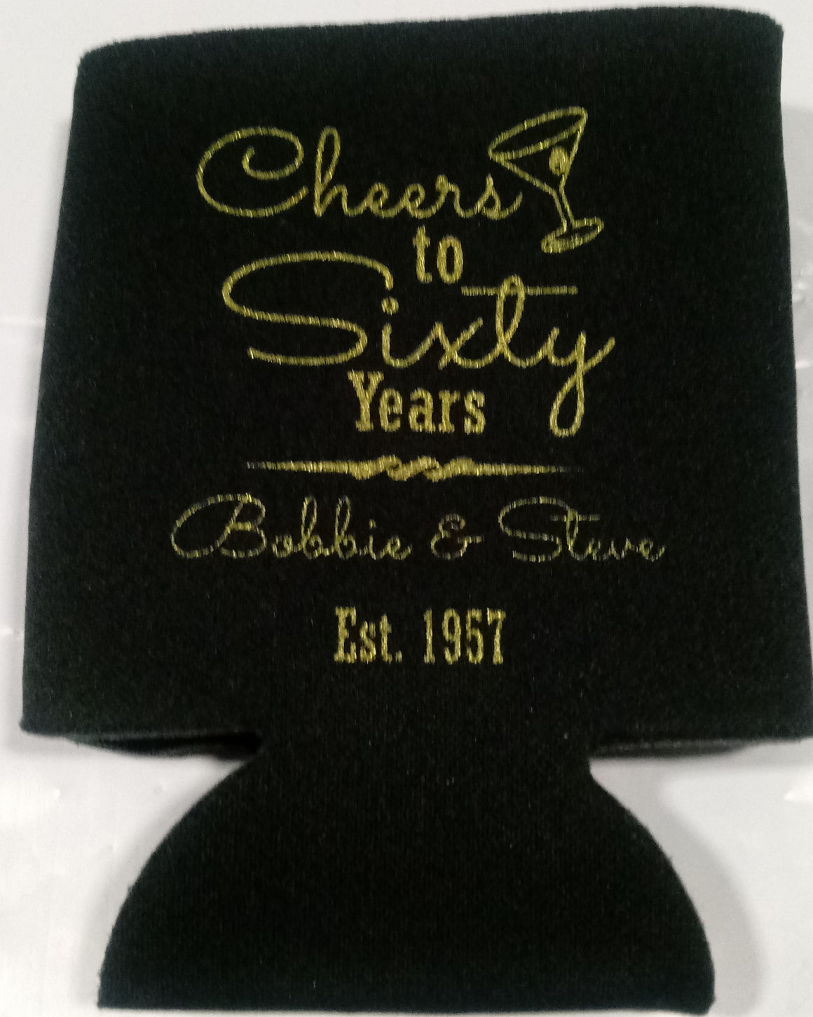Cheers to 60 years Birthday koozie can coolers personalized