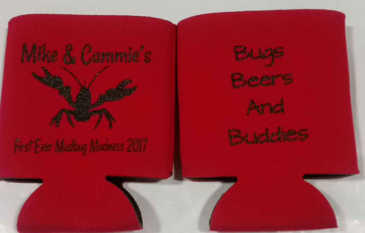 Drinking Beer crawfish boil 30th Birthday party favors can coolers double sided