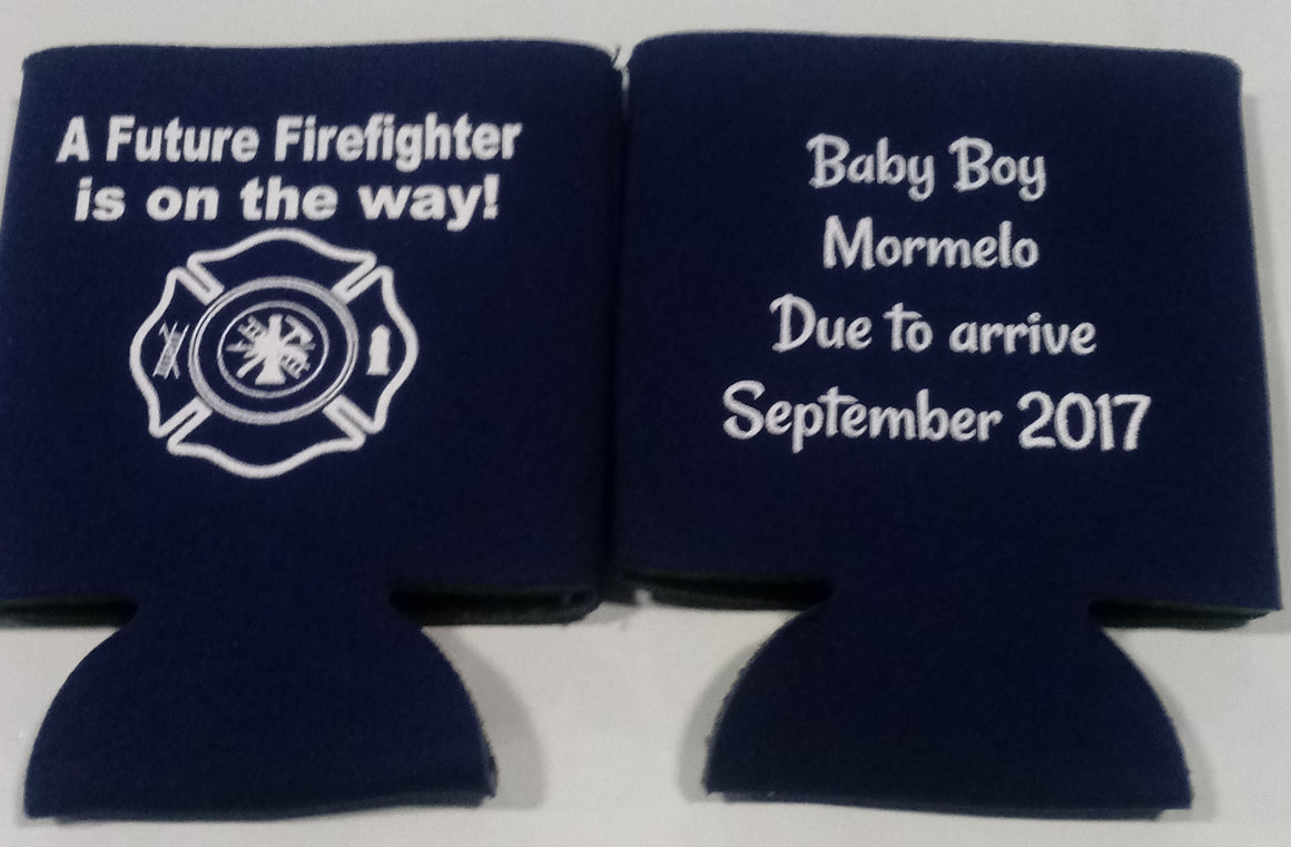 baby firefighter koozie is in the way shower favors Can Coolers