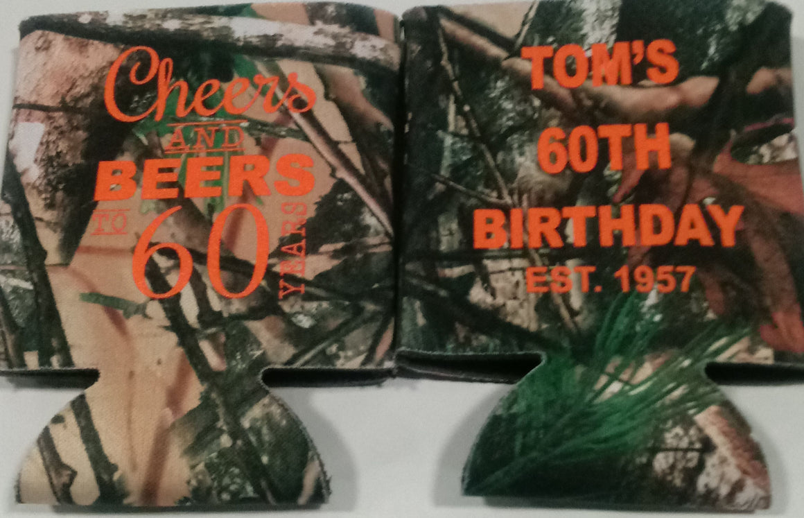 60th Birthday koozies cheers and beers can coolers