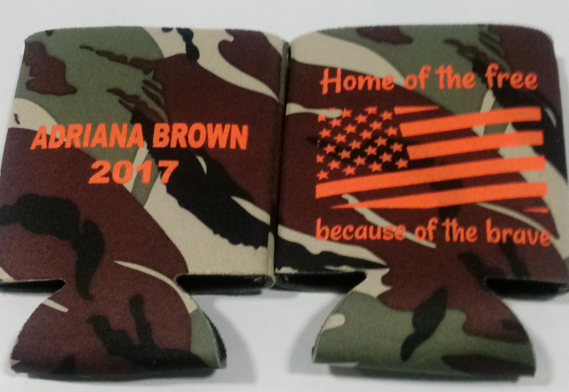 custom military In memory of  koozie personalized can coolers