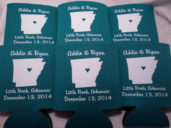 Arkansas Koozies custom personalized State Wedding Can Coolers