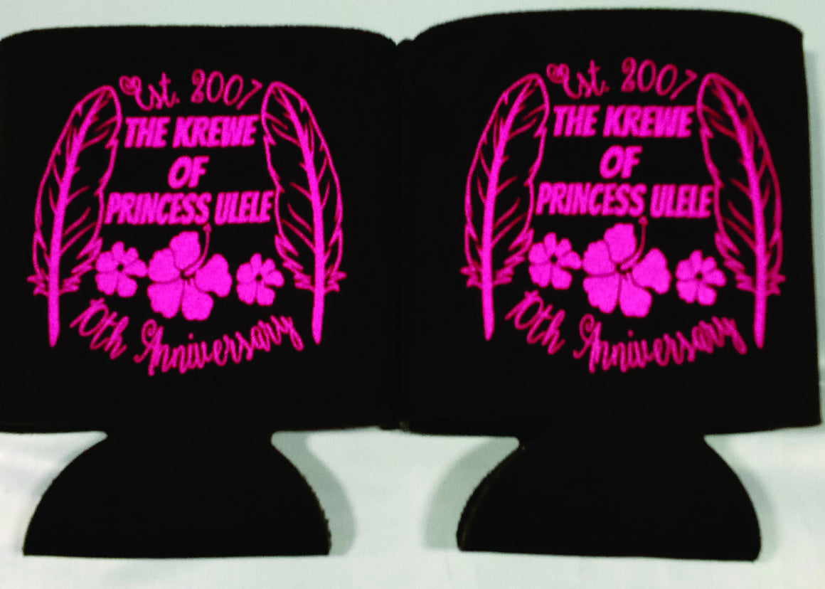 Custom Tropical Koozies 10 year Anniversary party favors can coolers