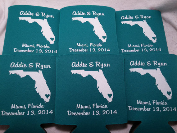 Florida Koozies custom personalized State Wedding Can Coolers