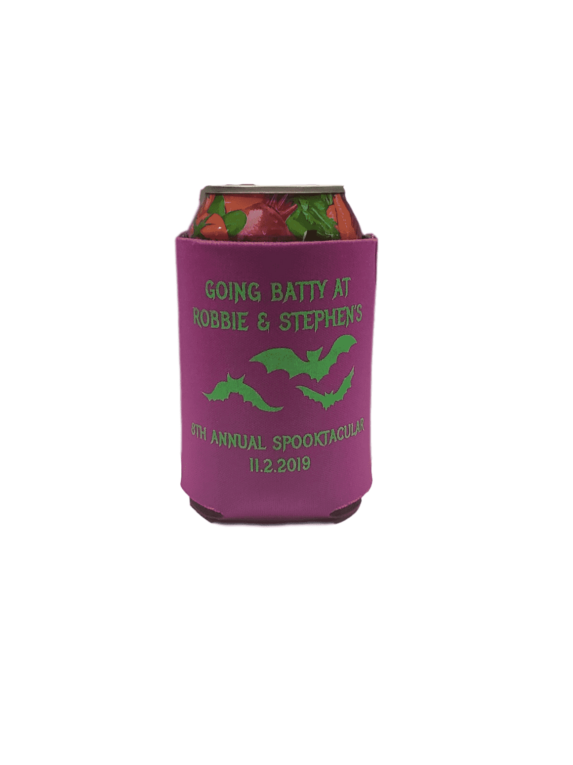 Going Batty Custom Halloween party koozie favors can coolers E101402
