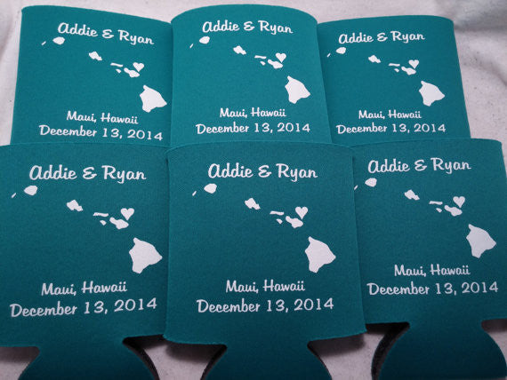 Hawaii Koozies custom personalized State Wedding Can Coolers
