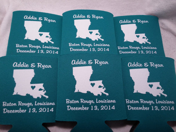 Louisiana Koozies custom personalized State Wedding Can Coolers