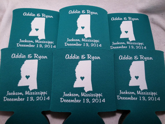 Mississippi Koozies custom personalized State Wedding Can Coolers