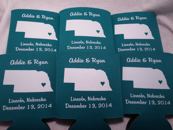 Nebraska Koozies custom personalized State Wedding Can Coolers