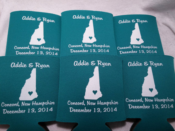 New Hampshire Koozies custom personalized State Wedding Can Coolers