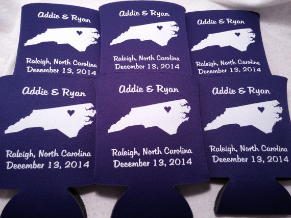 North Carolina Koozies custom personalized State Wedding Can Coolers