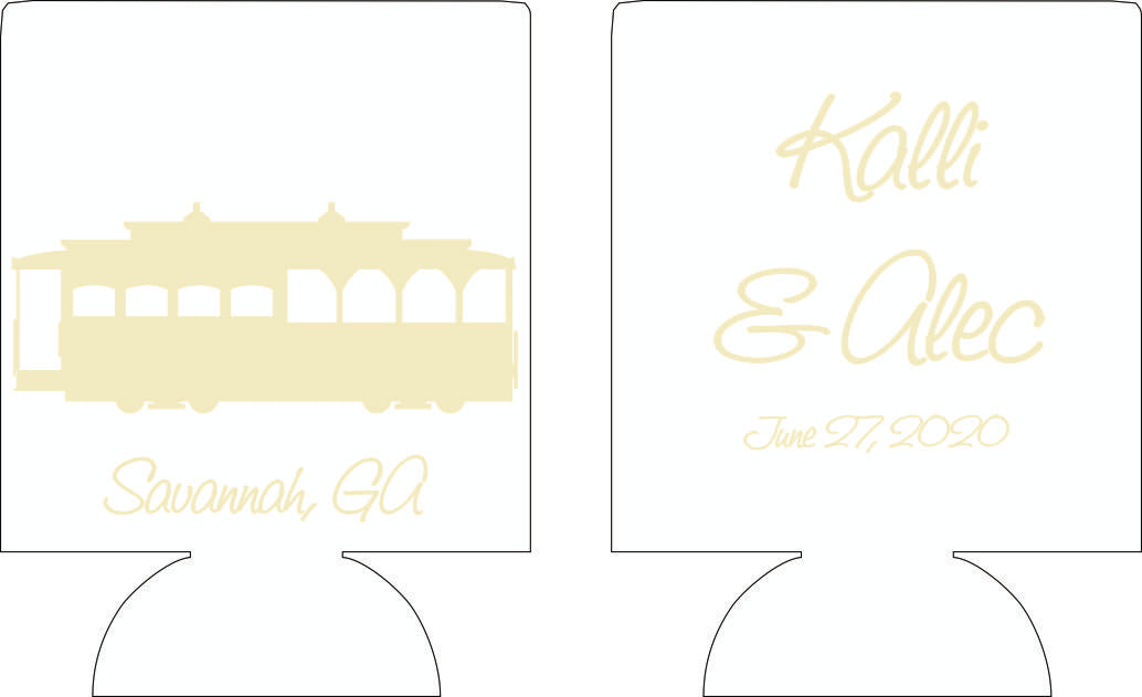 Reserved listing for Andrew Brooks wedding can cooler design custom