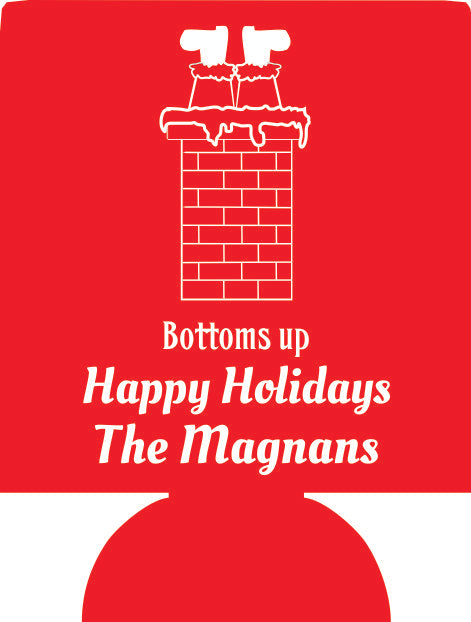 Bottoms up Christmas Koozies ideas holiday favors