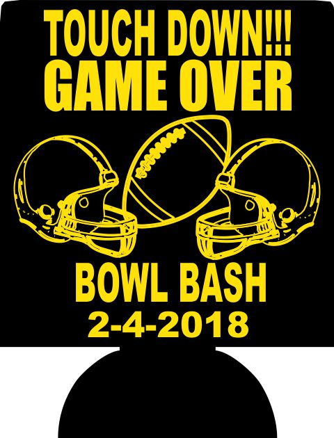 Bowl Bash Football Super Party custom can coolers no minimum
