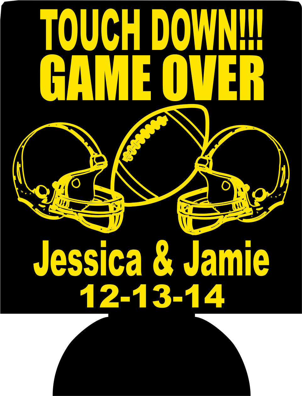 Game over Football Wedding koozie custom favors