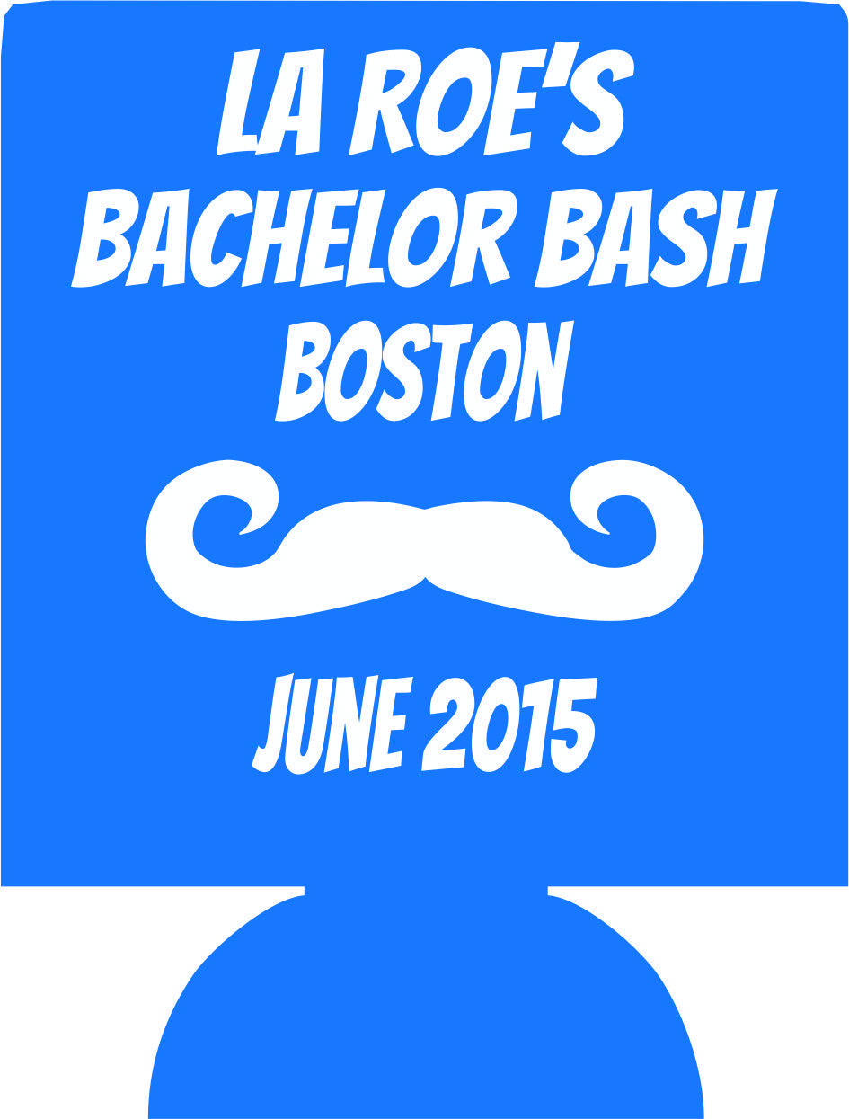 Mustache Bachelor bash koozie Party