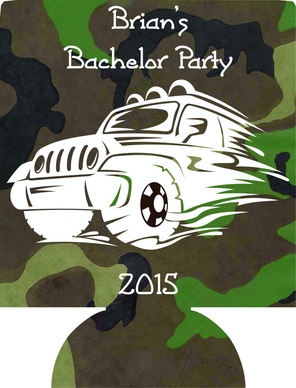 Truck Camo Bachelor Party custom favors Can Coolers 1020447884