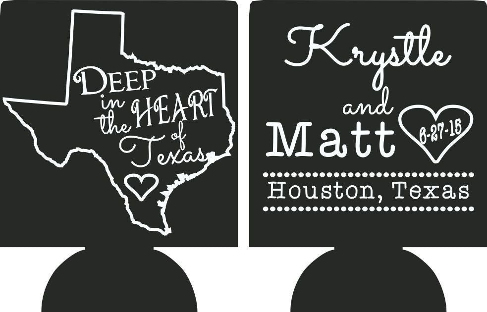 Deep in the heart of Texas Wedding Koozies
