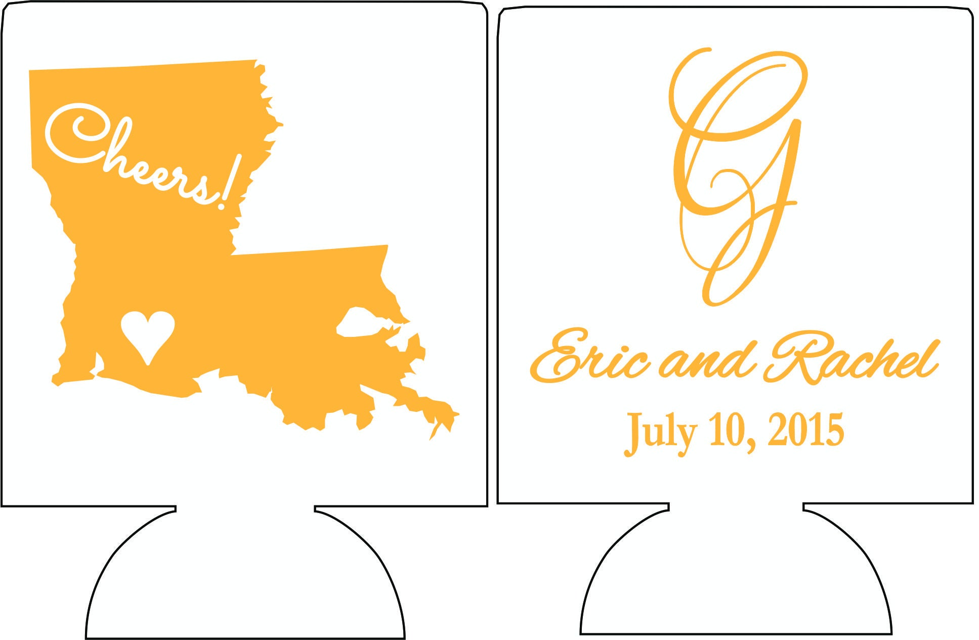 cheers Louisiana monogram wedding koozies Can Coolers - OdysseyCustom