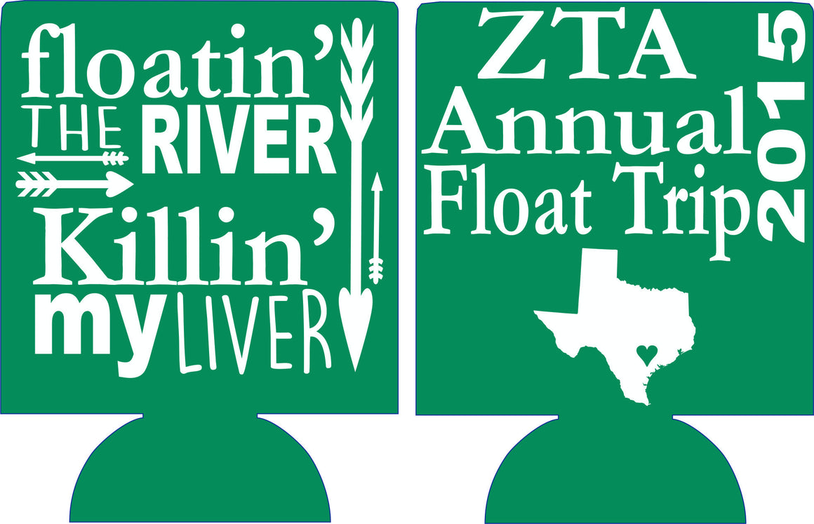 Custom Sorority float trip Koozies personalized party favors can coolers