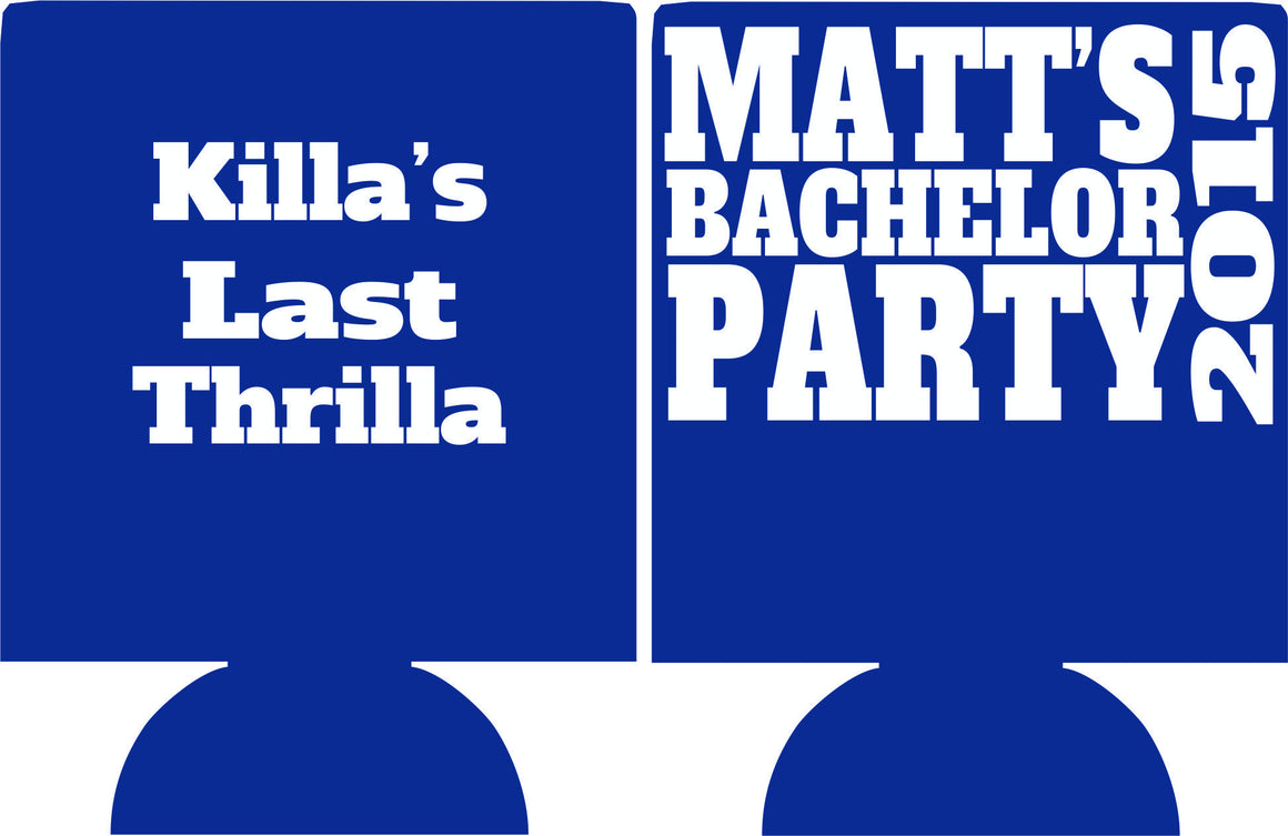 Last Thrilla Bachelor Party koozies