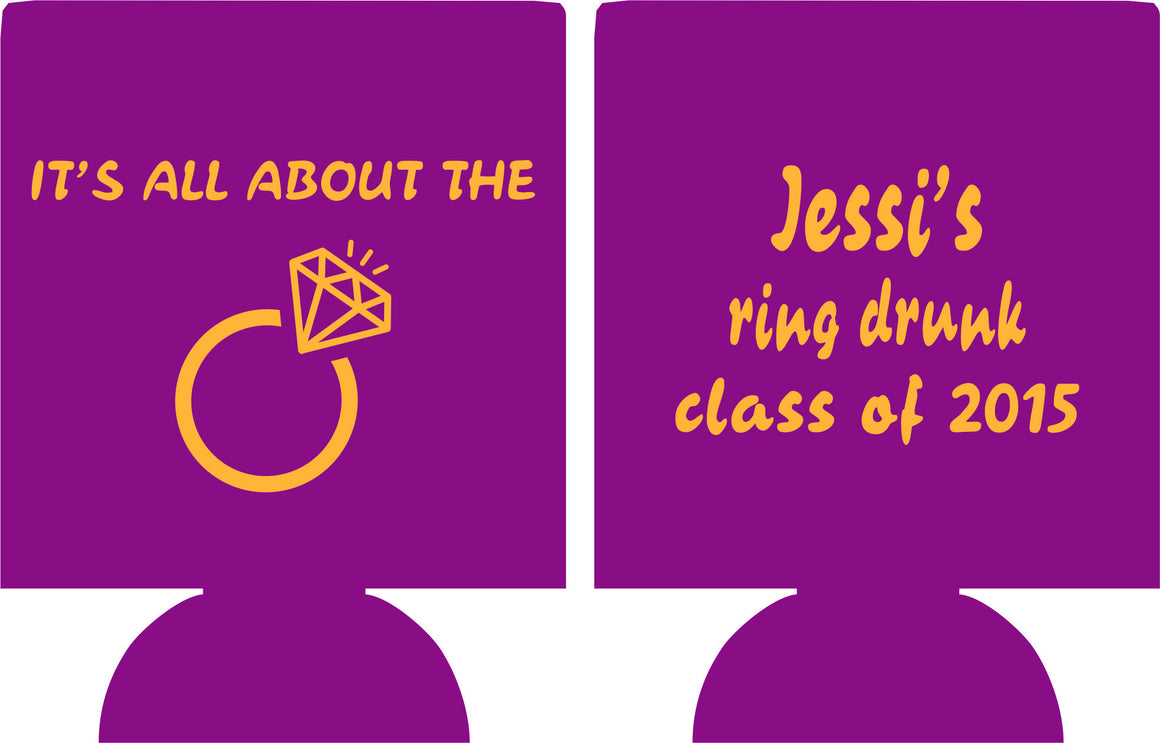 ring graduation party koozie favors can coolers personalized