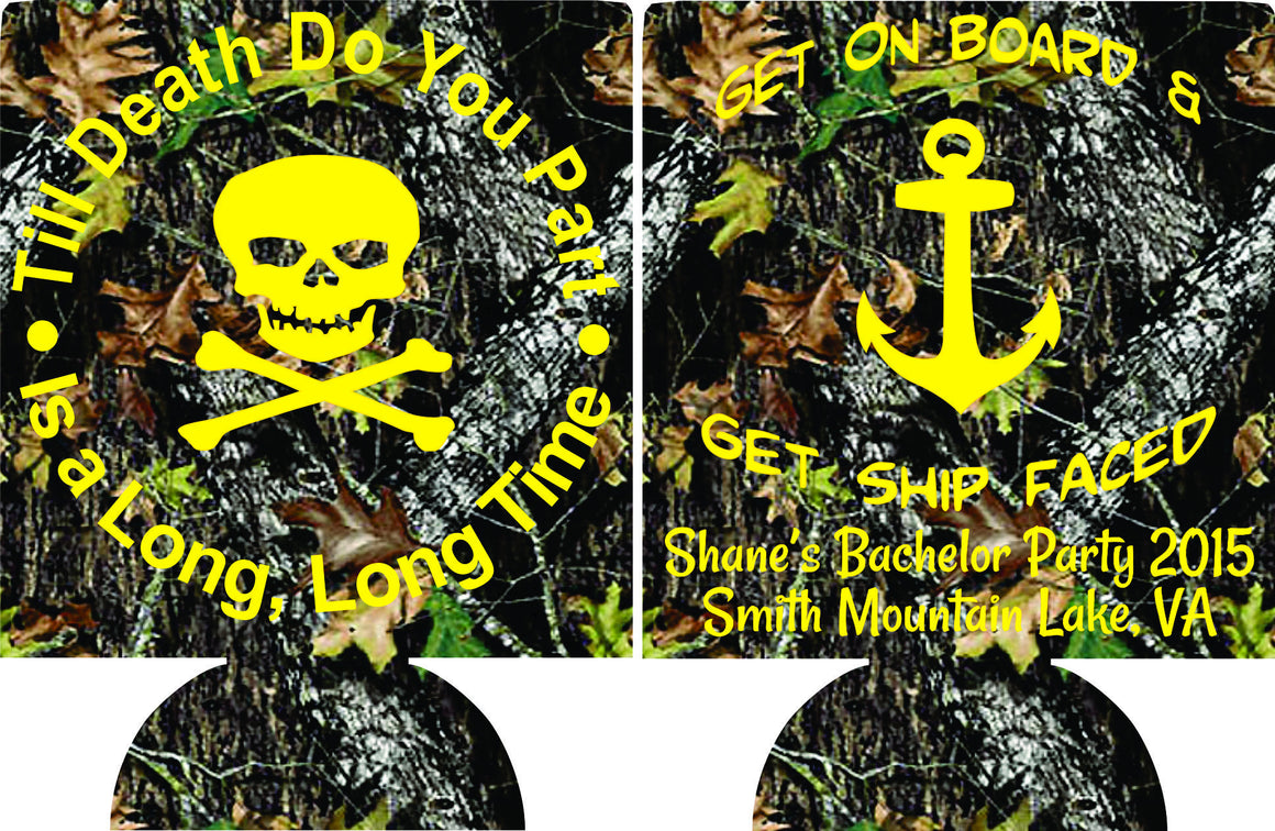 Ship Faced Bachelor Party Koozies custom can coolies