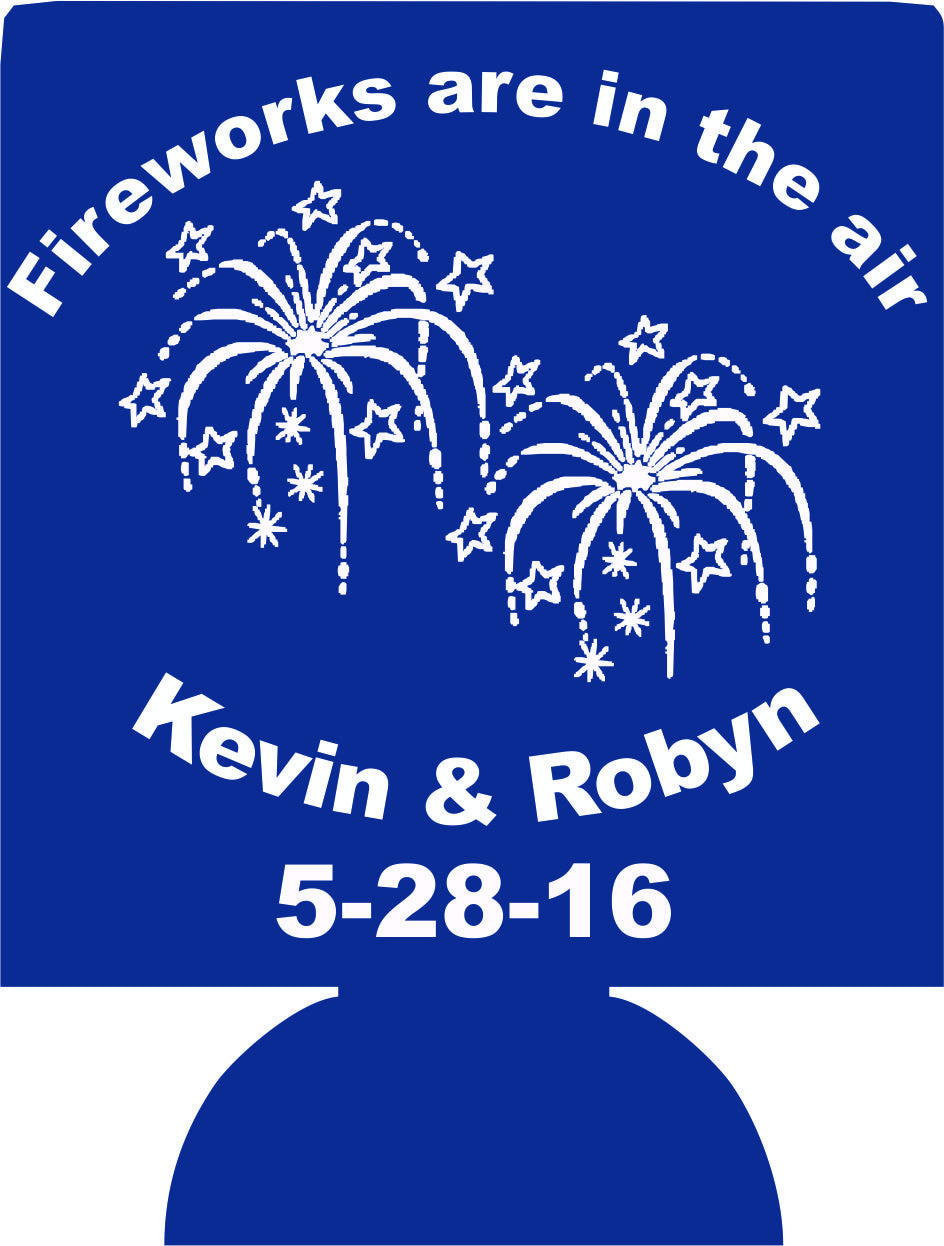 wedding fireworks are in the air koozies Can Coolers