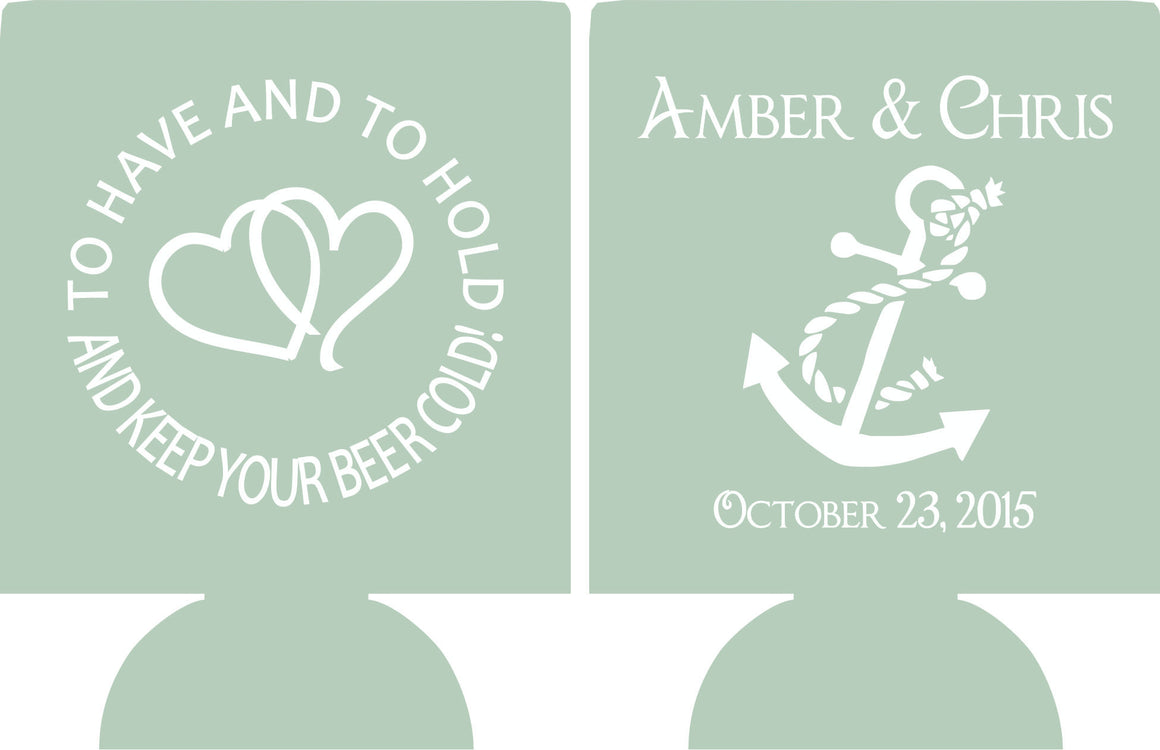 nautical wedding koozies personalized custom can coolies