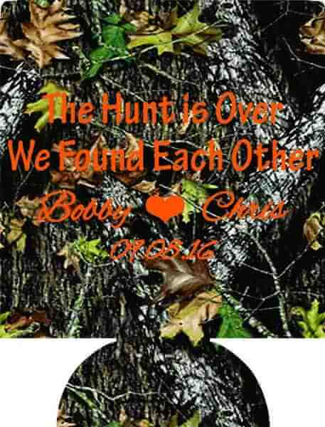 The Hunt is Over we found each other Wedding koozie 1066259913
