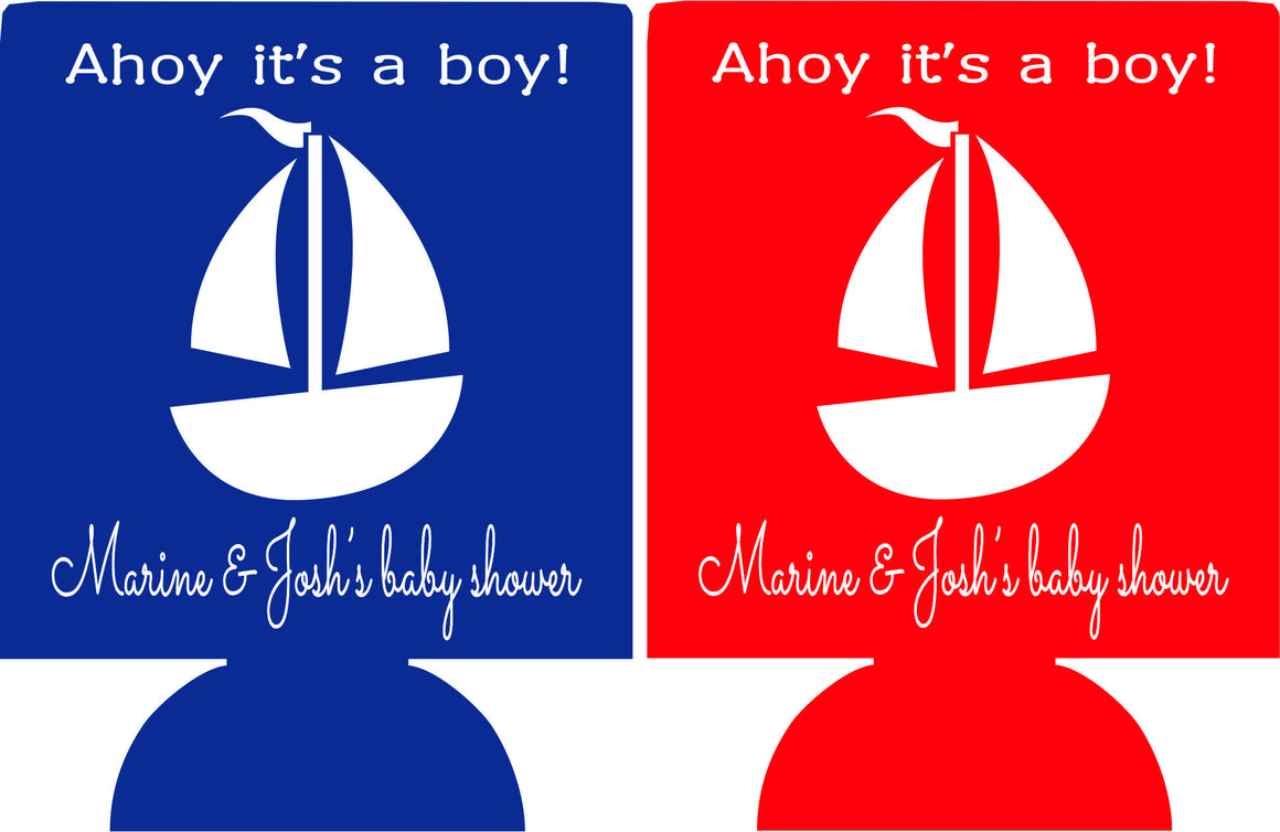 sailboat ahoy it's a boy baby shower party favors Can Coolers