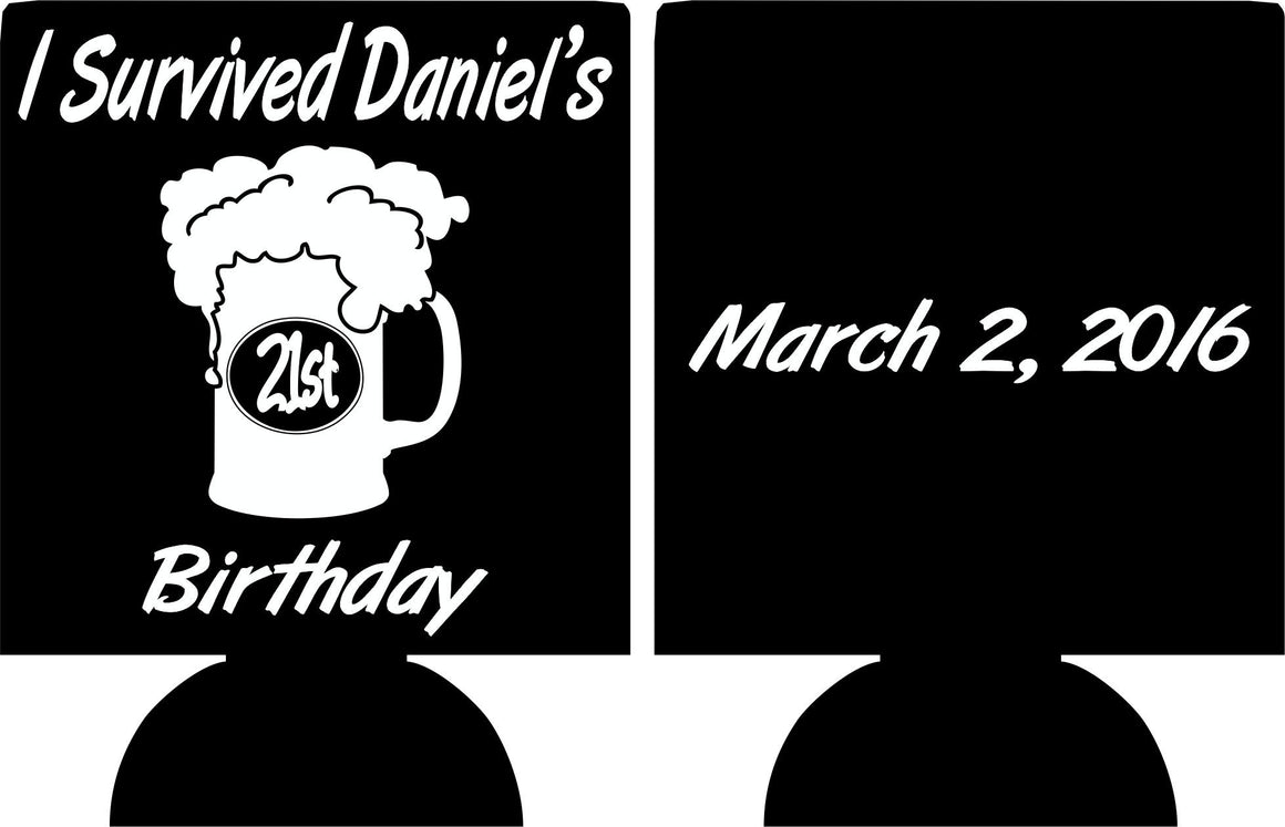 i survived 21st Birthday beer mug Koozies