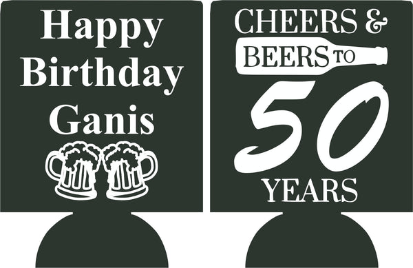 Cheers and Beers to 50 years Birthday koozie can coolies ...